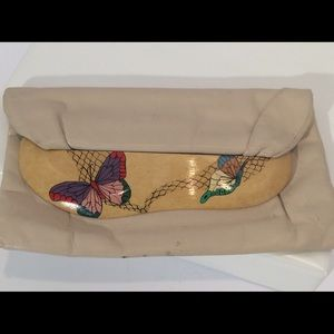 Vintage ZUSHI hand painted butterfly clutch